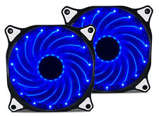 2 Pack 120mm BLUE LED Computer PC Case Cooling Fan Quiet Sleeve Bearing Vetroo