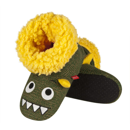 Boys Cosy Khaki /& Yellow Crocodile Crochet Knitted Slipper Boots In 3 UK Sizes
