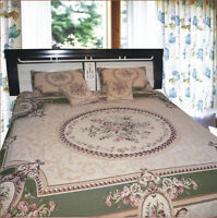 Dada Bedding Green Victorian Floral Medallion Chenille Tapestry Bedspread Set