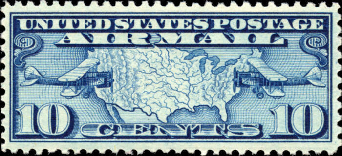 1926 10c Map of United States & Two Mail Planes Scott C