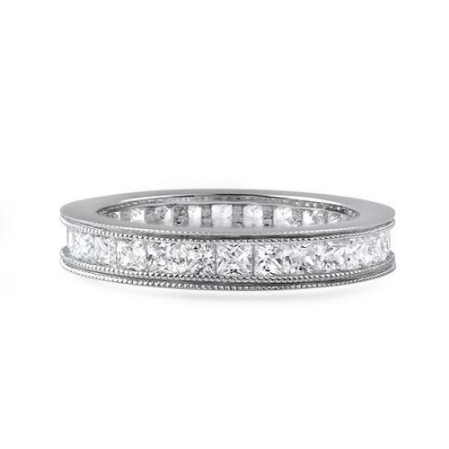 1.5 Carat Princess Cut Flawless CZ Eternity Ring Womens Wedding Band