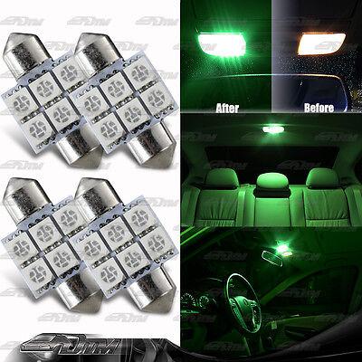 Green 31mm Festoon Bright 6-SMD LED Glove Box//Dome//Map Single Light Bulb