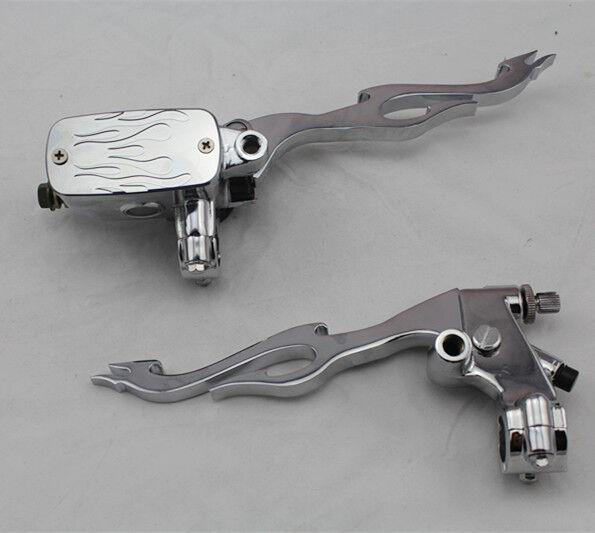 "7/8"" Handlebar Flame Hand Control Reservoir Brake Clutch Levers Motorcycle Bike"
