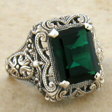 3 CT. SIM EMERALD ANTIQUE ART DECO STYLE 925 STERLING SILVER RING SIZE 5,  #528