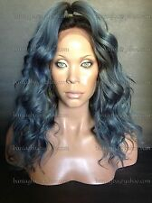 "OOAK 14"" Full Lace Wig Brazilian Human Hair Gray ""Gun Metal"" & Bronze Ombre Wig"