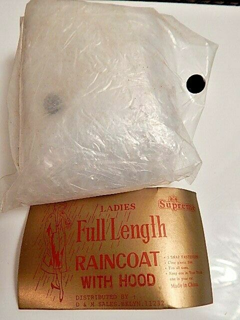 Nos Vintage Full Length Raincoat Hooded Hood Clea… - image 11