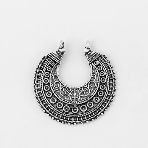 5Pcs Antique Silver Filigree Half Crescent Moon Chandelier Charms Jewelry Beads