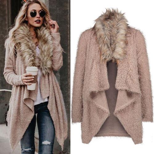 Winter Womens Faux Fur Collar Sweater Long Sleeve Cardigan Jacket Coat Loose Top