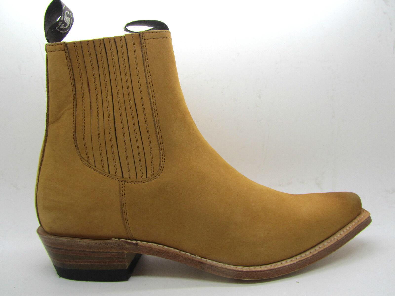 Sendra 1692 Men Cowboy Stiefel Tan Natural Nubuck Leder Ankle Western Western Ankle Biker 669da0