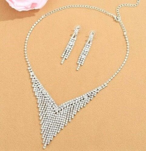 De Lujo austríaco Cristal Diamante Collar y pendientes de gota de Borla Conjunto De Joyería