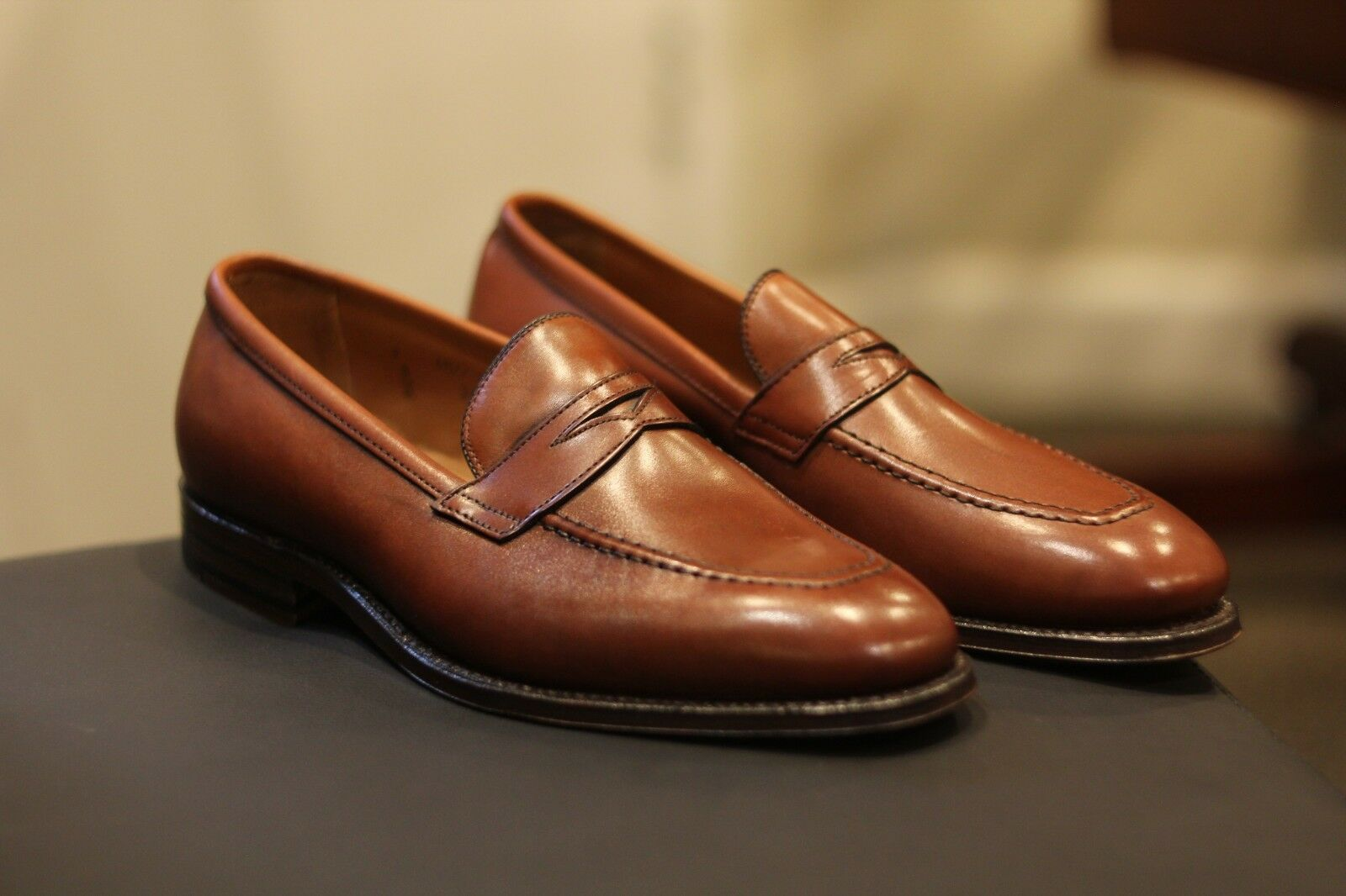 Alden 3556 Plaza Tan en cuir marron Penny Mocassins Chaussures Made In USA Neuf Taille 9 D