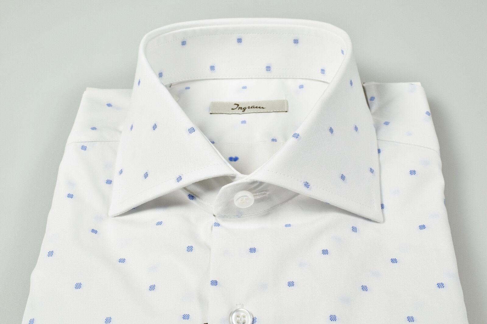 Camicia Ingram fil slim fit collo francese bianca cotone fil Ingram coupè disegno azzurro 11be0e