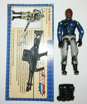 25TH GI JOE FIGURE HEAVY MACHINE GUNNER ROADBLOCK 100/% COMPLETE W//FILE CARD
