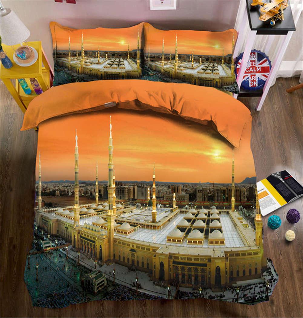 Solemn Stadt Outline 3D Druckening Duvet Quilt Will Startseites Pillow Case Bettding Set
