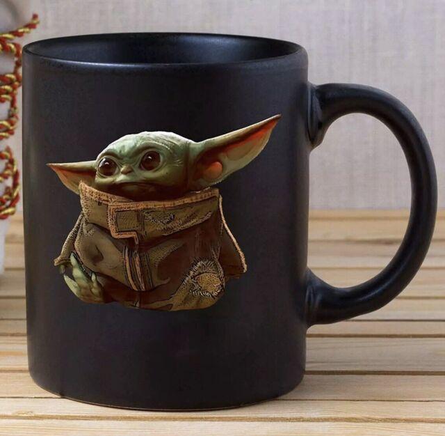 Baby Yoda Mug Star Wars, Black Mug 11 oz, Coffee/Tea Mug