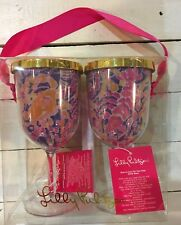 2 NEW LILLY PULITZER CABANA ACRYLIC COCKTAIL TARGET PINEAPPLE WINE GLASS CUP SET