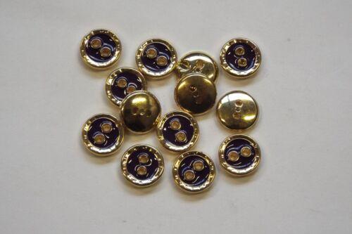 10pc 11mm oro brillante y Royal Purple Camisa Cardigan de punto niño botón 0846