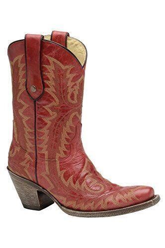 CORRAL Women's Red Stitched Vamp and Tube Snip Toe Cowgirl Boots G1900