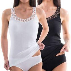HERMKO 153310 Damen Unterhemd aus EU-Baumwolle mit schöner Spitze Achseltop