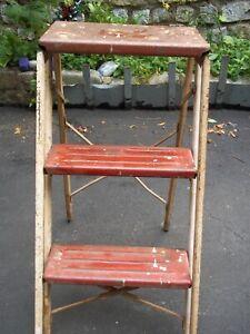 Vintage Red Metal Folding Step Stool Ebay