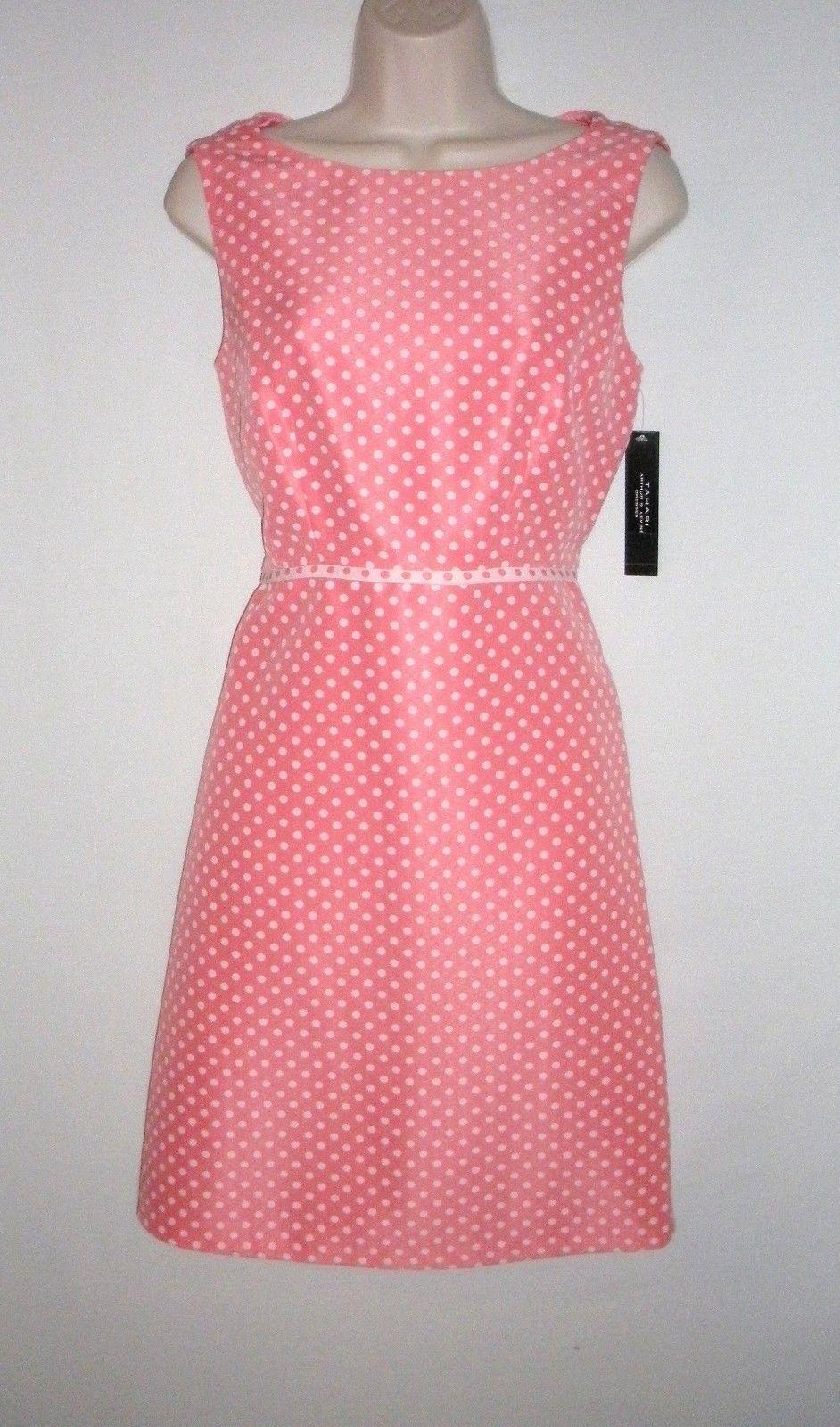 NWT MSRP  - TAHARI by ASL Polka Dot Shift Dress, Coral Weiß,  6  8  12  16