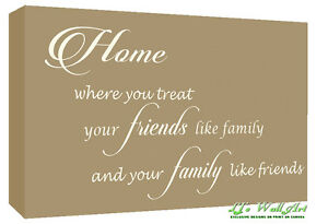home family friends quote canvas wall art picture print beige a1