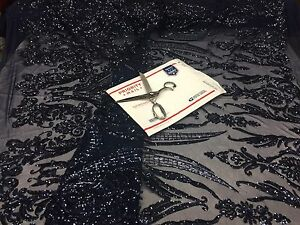 2 Way Stretch Fabric - Navy Embroidered sequins lace Fashion - By The Yard