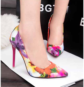 Ladies-Floral-Printed-High-Heels-Pointed-Toe-Pumps-Slip-On-Party-Prom-Shoes-Size