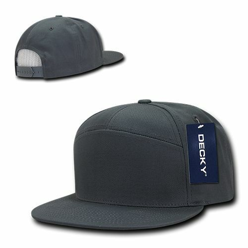 Charcoal Gray 7 Panel Flat Bill Cotton Snapback Baseball Ball Cap Hat