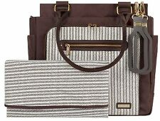 JJ Cole Freeman Baby Diaper Bag Dashed Stripe with Changing Pad NEW 2016