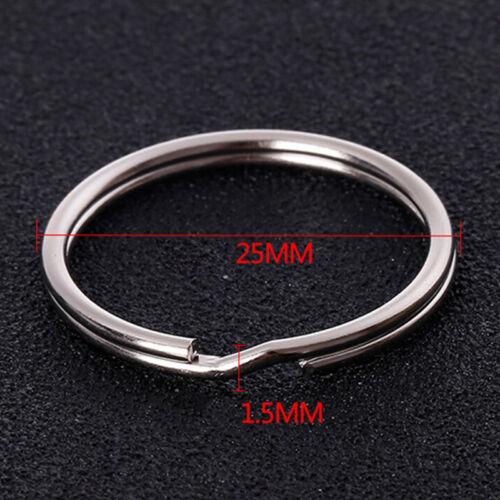 50PCS Polished Silver Key Holder Split Ring Keyrings Key Chain Hoop Loop DIODUS