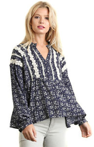 UMGEE-Womens-Boho-Floral-Crochet-Chic-Bohemian-Long-Sleeves-Top-Blouse-S-M-L