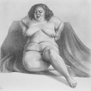 """Nude Study #48 - 5x5"""" - Original Graphite Drawing on 150gsm paper (not a print)"""