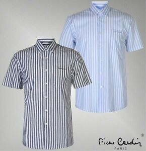 Mens-Branded-Pierre-Cardin-Lightweig-Washed-Stripe-Short-Sleeve-Shirt-Size-S-3XL