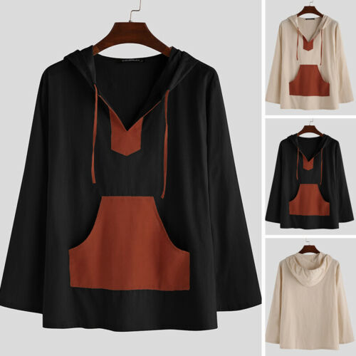 Vintage Mens Linen Hoodies Tops Causal Beach Long Sleeve Tops Tee Pullover Shirt