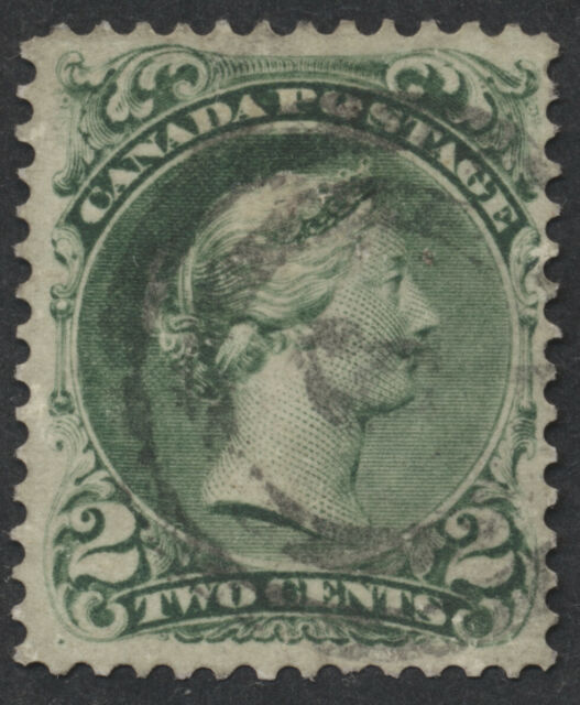 Canada #24a 2c Large Queen, Watermarked Bothwell Paper, VF, 2-Ring 6 Cancel