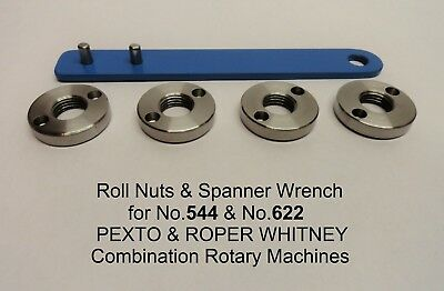2 Roll Nuts /& Spanner Wrench for Pexto /& Roper Whitney Rotary Machines