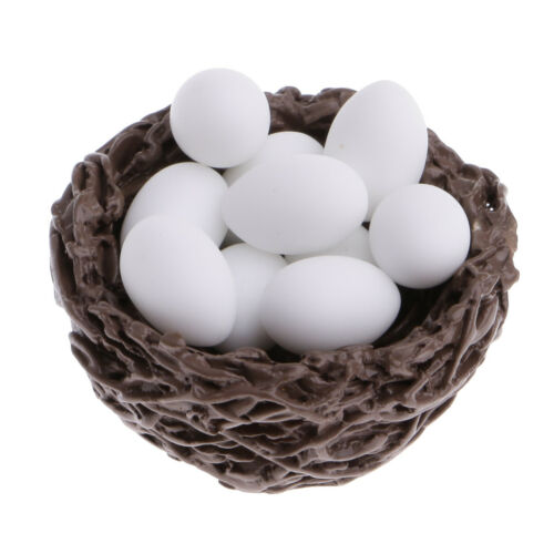 Miniature Duck/'s Nest with 10 Small Eggs Dollhouse Miniatures 1//12 Scale