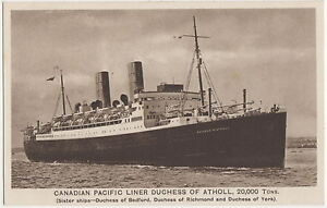 Canadian Pacific Liner Duchess of Atholl Shipping Postcard US001 - <span itemprop='availableAtOrFrom'>Borth, United Kingdom</span> - Canadian Pacific Liner Duchess of Atholl Shipping Postcard US001 - Borth, United Kingdom