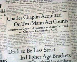 CHARLIE-CHAPLIN-Mann-Act-Joan-Barry-ACQUITTAL-World-War-II-1944-WWII-Newspaper