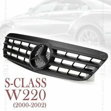 Matte Black Front Mesh Grille Sport AMG for Mercedes Benz S Class W220 2000-02