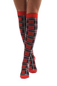 in vendita all'ingrosso estremamente unico lucentezza adorabile Dettagli su Stivali al ginocchio tartan Calze coscia alta scozzese la Notte  di Burns Red Hen Party- mostra il titolo originale