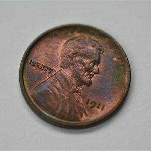 1911-P-US-Lincoln-Wheat-Cent-Penny-UNC-Awesome-Rainbow-Toning-A-580