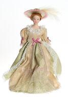Dollhouse Miniature Doll Mother Victorian Porcelain Beige Dress Hat 1:12 Scale