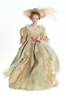 Dollhouse Miniature Doll Mother Victorian Porcelain Beige Dress Hat 1:12 Scale
