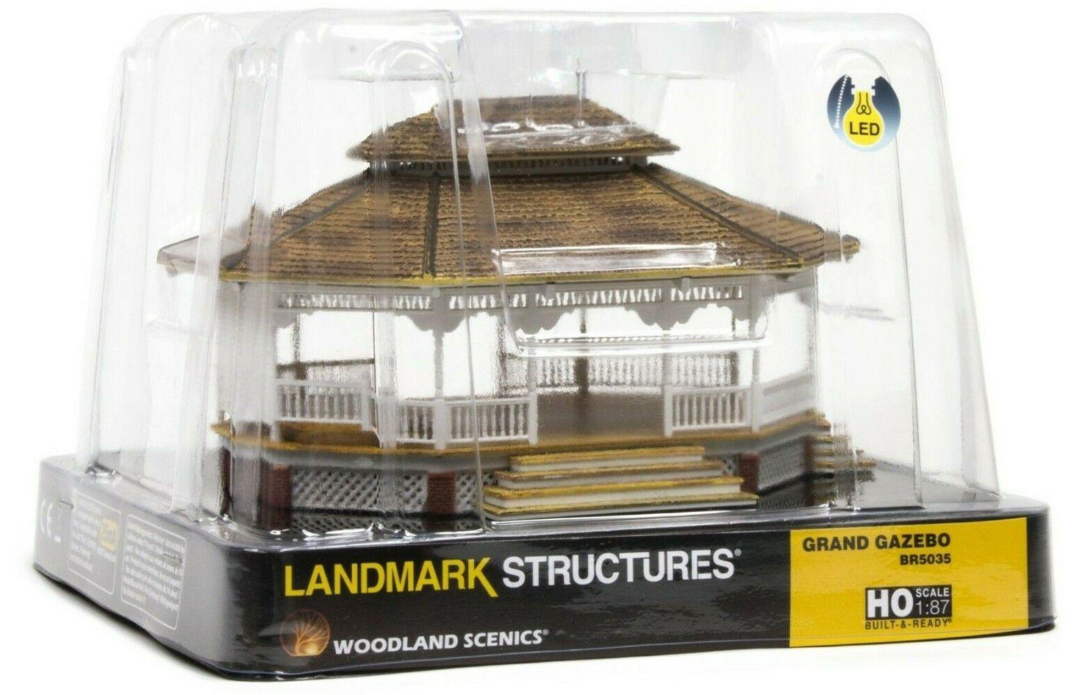 HO Scale Woodle Scenics BR5035 Gre Gazebo Built & & & Ready Lemark Structure d93877