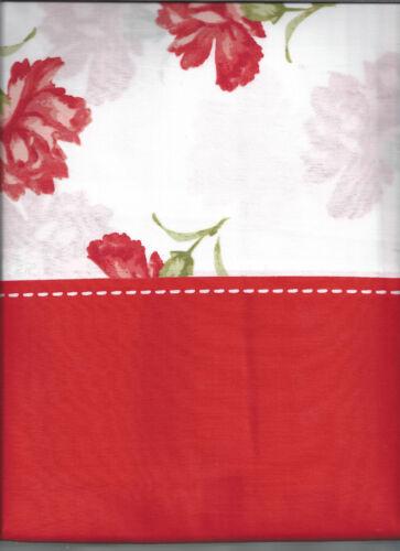 MARTHA STEWART LE PETITE FLEUR CORAL RED /& WHITE FLORAL SHOWER CURTAIN