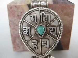 Turquoise-Silver-Gau-Locket-Buddhism-Om-prayer-pendant
