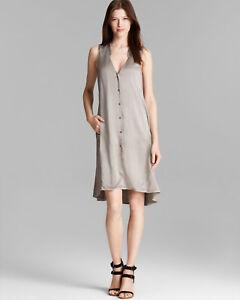 bb92d2e5109 Eileen Fisher Silk Sleeveless Hi Lo Light Gray Shirt Dress  295
