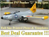 Grumman F9f Panther 72 1/6 Giant Scale Rc Airplane Printed Plans & Templates